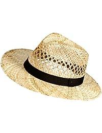 EveryHead De Moda Fiebig Sombrero Paja Mujer Señoras Traveller Vaquero Panamá Uni Con Banda Acanalada (FI-16518-S16-DA0) incl Hutfibel