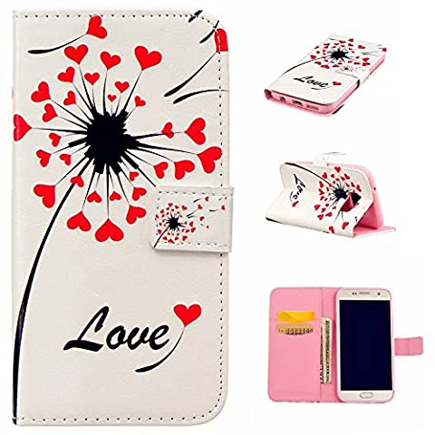 KSHOP Relief Coque en PU cuir Anti-empreintes Digitales pour Samsung Galaxy S7 Case Cover Housse Etui Fermeture magnétique Book Style Couverture en Silicone sacs Ultra-mince coquille fonctionnelle avant relief - Coeur Red Love + Rose Crayon Tactile