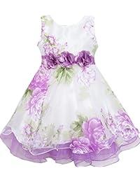 Mädchen Kleid Tüll Braut- Schnüren Mit Blume Detailing Lila