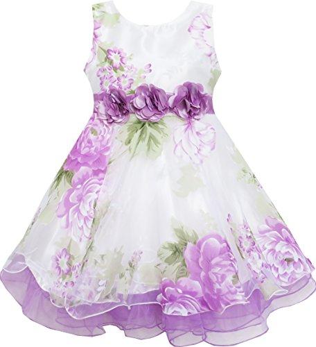 Mädchen Kleid Tüll Braut- Schnüren Mit Blume Detailing Lila Gr.158