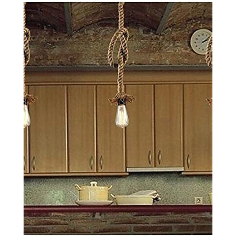 Retro 1 Lamp Hemp Rope Chandelier Retro Country Style , (Rope 1 Luce)
