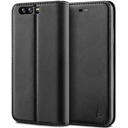 BEZ® Hülle für Huawei P10 Plus Hülle, Handyhülle Kompatibel für Huawei P10 Plus Tasche, Case Schutzhüllen aus Klappetui mit Kreditkartenhaltern, Ständer, Magnetverschluss - Schwarz