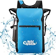 HeySplash Waterproof Backpack, 500D PVC 25L Roll Top Lightweight Floating Dry Bag with Adjustable Straps and O