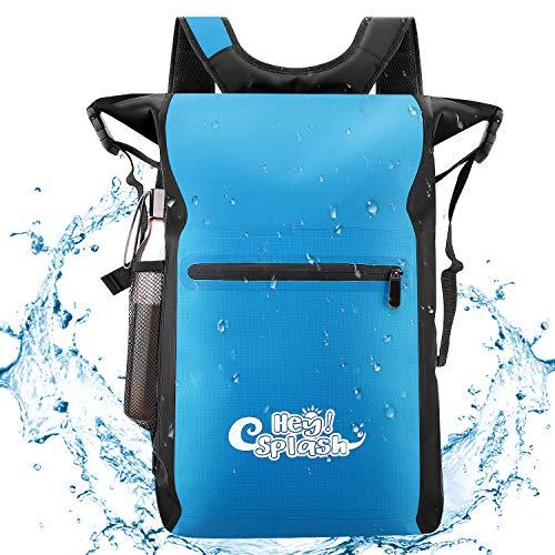 HeySplash Wasserdichter Rucksack, 25L Top Leichte Schwimmende Trockene Tasche mit Verstellbaren Trägern und Äußeren Reißverschlusstasche für Outdoor Sport, Bootfahren, Schwimmen, Blau -