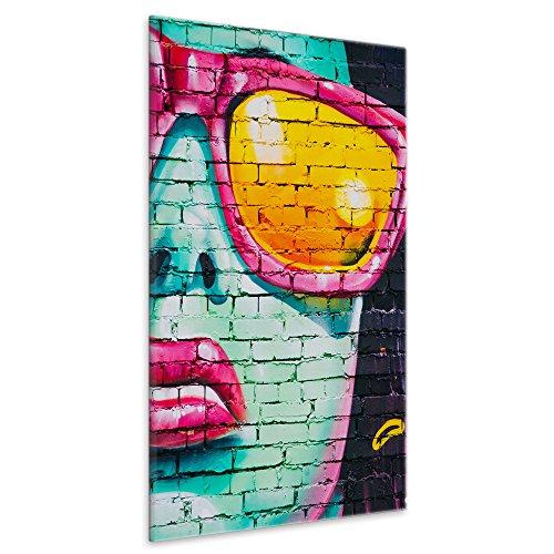 malango® Leinwandbild Graffiti Frau Sonnenbrille Kunstdruck Fotoleinwand handgefertigt Design Styling Kunst Wanddekoration Bild Foto Leinwand Pop Art 50 x 75 cm