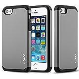iPhone 5S, iPhone 5 Funda, J&D [Armadura Delgada] [Doble Capa] [Protección Pesada] Híbrida Resistente Funda Protectora y Robusta para iPhone 5S, iPhone 5 - Gris