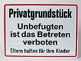 Buddel-Bini Versand Qualitäts - 2 mm Aluminium Schild Privatgrundstück Unbefugten ist Das Betreten verboten Eltern haften für Ihre Kinder 33x24 cm Aluschild Reflektierend Alu