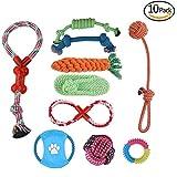 10Hundespielzeuge, langlebig, sicher, ungiftig, geeignet für mittlere bis kleine Hund, Kauspielzeug, Seil-Spielzeug, Seilring, fliegende Scheiben, Ball mit Geräusch, Gummiknochen, Quietsch-Futter-Ball mit Löchern, Kauseil, Wurfspielzeug, etc.