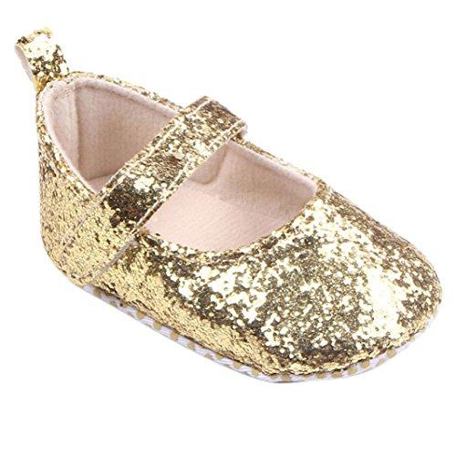 Schuhe für 0-18Monate Baby, squarex Kleinkind Mädchen Weiche Sohle Krippe Pailletten Sneaker 6-12 Months gold (Boys Kleinkind Sneakers Größe 6)