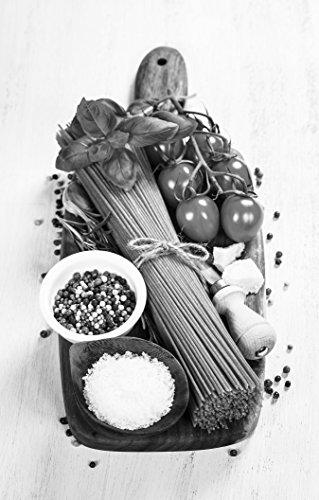 Stoff Traditionellen Tabelle (Bilderdepot24 Vlies Fototapete - Italienische Pasta II - schwarz Weiss - 270x360 cm - mit Kleister - Poster - Foto auf Tapete - Wandbild - Wandtapete - Vliestapete)