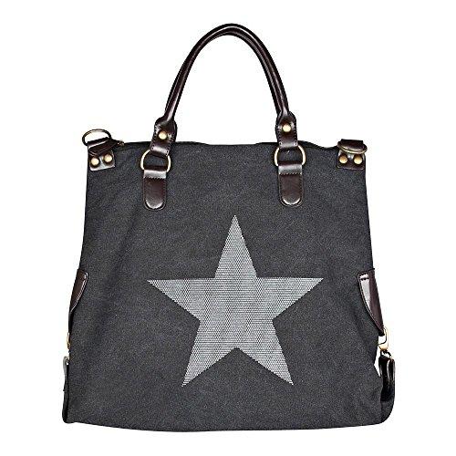 Smartland Damentasche, 5931, XXL Handtasche Star Jeans Beuteltasche Strass Applikation Canvas Antik-Look Damen Schulter Tasche mit Sternen Schwarz/Weiss 45x40x16 cm