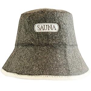 DIYer – Saunahut – inkl. Sauna eBook – Aufschrift Sauna – 100% Baumwolle – Filz Saunamütze