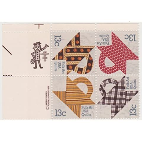Scott #1745-48 13-Cent American Folk Art Quilts Block Of 4 by US Postage Stamps