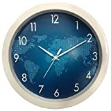 #3: 1 Stop Poster Design Silent Movement (26 cm X 26 cm) Plastic Round Shape World Map Design Wall Clock.