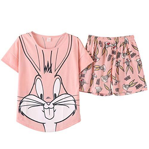 Zhuo Qun Shang Mao Pyjama Niedliche Set Pink Bugs Kaninchen Cartoon Short Pyjamas Frauen Polyester Print Damen Bekleidung -