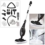 Voche® Black 1300W 16-in-1 Upright Steam Mop with Detachable Hand-Held Steam Cleaner with Attachments and Accessories - Includes Steam Window Cleaning Attachment and Garment Steamer!