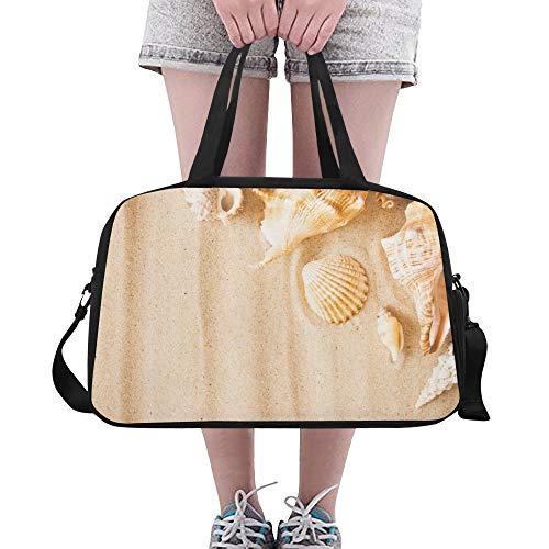 Sea Shell Starfish mit goldenem Sand Benutzerdefinierte große Yoga Gym Totes Fitness Handtaschen Reise Seesäcke mit Schultergurt Schuhbeutel für die Übung Sport Gepäck für Mädchen Mens Womens Outdoor