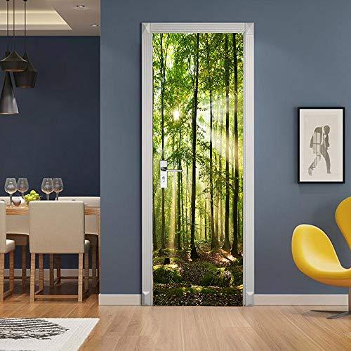 XSLIVE Türaufkleber Kreativer Umweltschutz 3D Sonnige Waldtüraufkleber Renovierte Selbstklebende Schlafzimmerwandaufkleber 77 * 200cm - Renovierte Leben