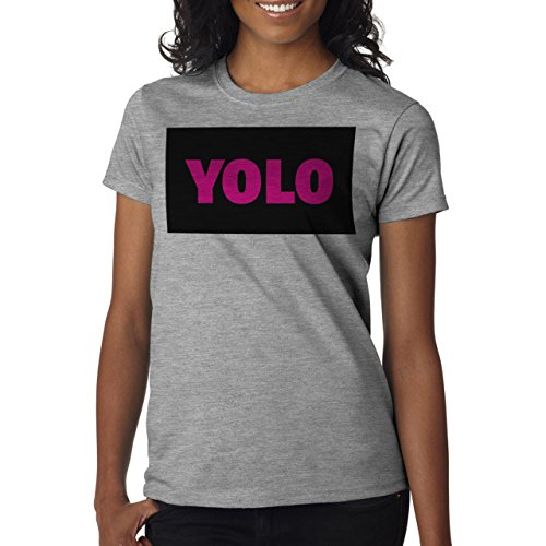 YOLO Black Pink Name Background Damen T-Shirt Grau
