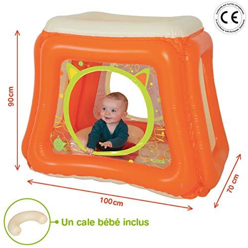 LUDI - Aire d'éveil et de jeu gonflable 100 x 90 x 70 cm. Dès la naissance. Fournie avec un cale bébé. Structure stable pour créer un cocon sécurisant, sol gonflé. Plastique épais et durable - 20002