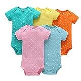 TUDUZ 5 Stücke Neugeborenes Baby Jungen Mädchen Print Kleidung Täglichen Spielanzug Playsuit Jumpsuit für 0-24 Monate (B, 0-6 Monate)