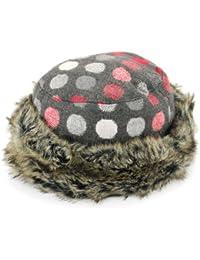 4e16bcdeb87a9 Women s hat faux fur trim dark grey with multicoloured spots Hawkins