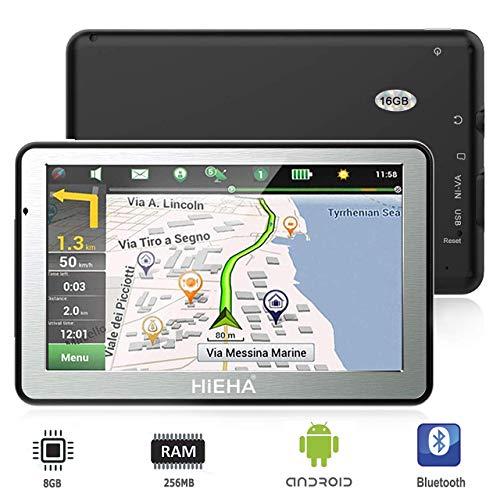 GPS para Coches, HIEHA 7' Navegador GPS  Bluetooth Android Pantalla Táctil de Alta definición, Actualizaciones Gratis de mapas de por Vida