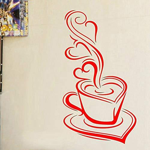 Küchenwandaufkleber Kaffee Delicious Kaffeetassen Vinyl Wandtattoos Bäckerei Café Shop dekorative Wandsticker rot 75x40 cm