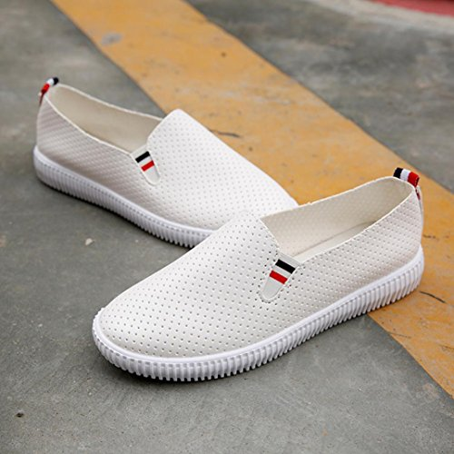 Chaussures Plates à enfiler Femme,OverDose Sports Baskets Mocassins Cuir Espadrilles Slip on Flat Blanc