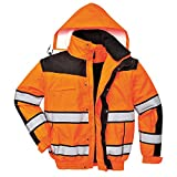 4in1 Warnschutzjacke Regenjacke Winterjacke Arbeitsjacke orange Gr. L