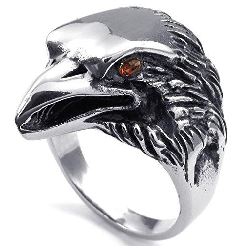 Beydodo Edelstahl Ring für Herren Adler Zirkonia Herrenringe Rot Schwarz Silber Ringgröße57 (18.1)