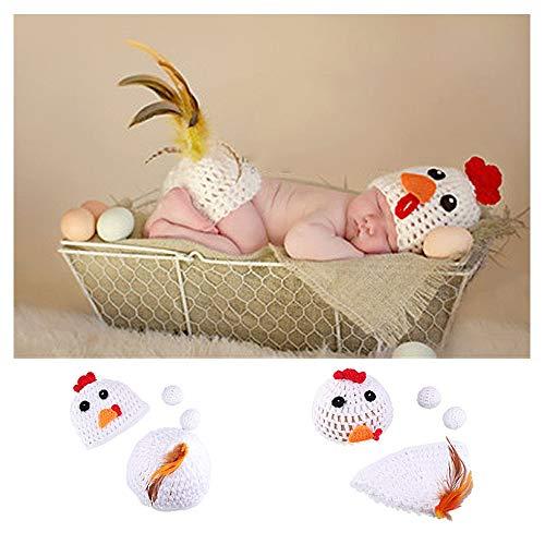 NROCF Baby Fotografie Kostüm Set, 2PCS Gestrickte Eier, Baby Neugeborenen Elastische Foto Strickmütze Shorts Kleidung Fotografie Requisiten