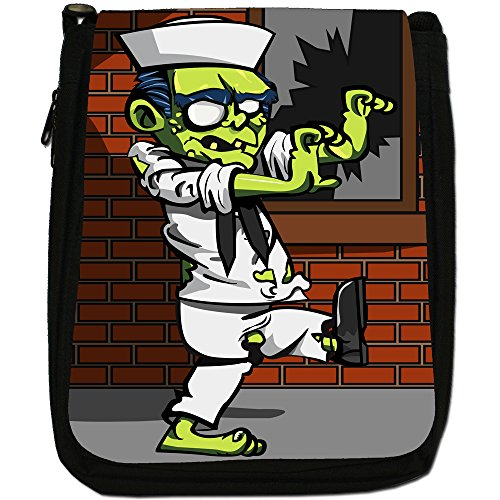 Zombie Plague-The Living Dead-Borsa a tracolla in tela, colore: nero, taglia: M Navy Sailor Zombie