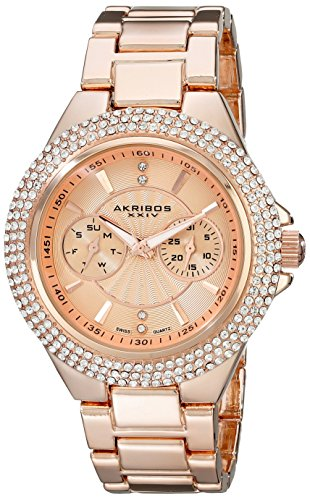 Akribos XXIV Reloj con movimiento cuarzo suizo AK789RG Rosado 43  mm
