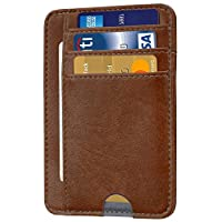 Santo Front Pocket Minimalist Leather with RFID Blocking Slim Card Holder Wallet for Men & Women (Soft Brown)