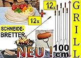 12 x Picknick Grillbrett Holz + 12 x Grillspiesse, 100cm lang, Spiesse Gabel-Spieß + massive Schneidebretter Picknick Geschirr, Servierplatte D 25cm, rund, Grillbrett Servierbrett für Wurst, Gemüse, Steak / Fleischplatte, Bruschetta, Raclette, Brotzeitbrett mit Griff, Picknick, Frühstücksbrett, Bayerisches Brotzeitbrettl, massives Schneidbrett, Anrichtebrett, Frühstücksbrett, Brotzeitbretter Picknick Steakteller