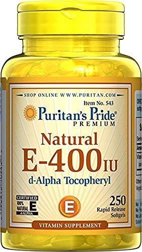 E 400 Natürliche (Natürliches Vitamin E 400 I.E. 250 Softgels Großpackung D-Alpha Tocopherylacetat - Puritan´s Pride 543)