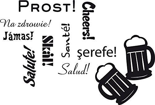 GRAZDesign Küchendeko Dekorfolie Prost - Wandgestaltung Küche Bier - Wandtattoo Küche Bar / 73x50cm / 070 schwarz