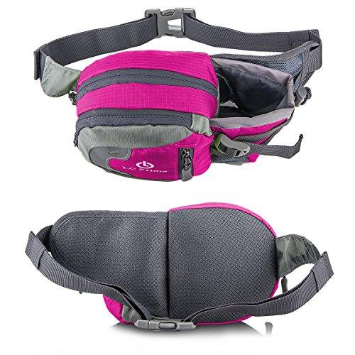 Taille Tasche,Tragbare Wasserflasche Design Auf der Taille Tasche für Reisen, und Outdoor Aktivitäten nylon fabric multied-color, by LC Prime Purplish-Red