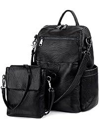 UTO Damen Backpack Purse PU gewaschen Leder Ladies Rucksack Schultertasch schwarz