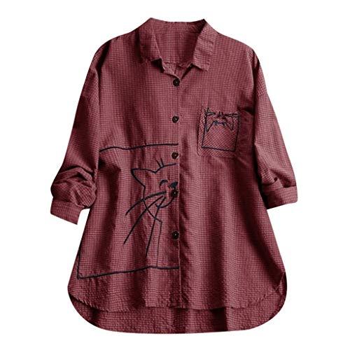 Damen Vintage Shirt, Plus Size Einfarbig Baumwolle Und Leinen Tops T Shirt Mit Kapuze Tasche Lose Bluse LäSsige Taste Tunika Pullover -