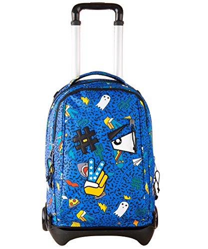 Trolley invicta - plug face - royal blu - zaino sganciabile e lavabile - scuola e viaggio 35 lt