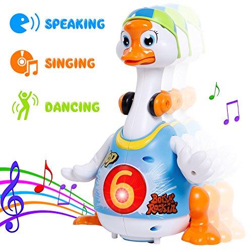 Sgile Interaktive Tanzende Gans Kinder Spielzeug Pädagogische Tier Spielzeug mit Hip-Hop Lieder, Hip-Hop Swing Goose Schwingengans für Kinder Kindergeschenk