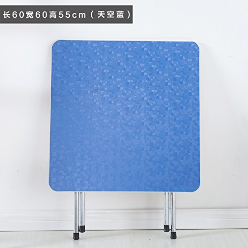 JJTLZY Table PlianteTable Pliante Table à Manger Maison Simple 2 4 Table Portable carré Table Ronde Pliante,Simple 50 Haute Ciel Bleu
