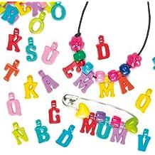 Abalorios Cuentas en Forma de Letras del Abecedario para Hacer Pulseras, Joyas, Collares y Otras Manualidades de Bisutería Infantil (Pack de 160)