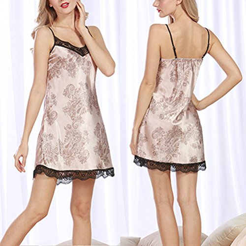 Zhhlinyuan Fashion Women's Satin Dress Lingerie Sleepshirts Chemise Nightgowns Camel