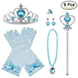 Vicloon Elsa Dress Up Accessories Set of 9, Elsa Gloves, Princess Crown, Ring, Earring, Magic Wand and Necklace (Blue)