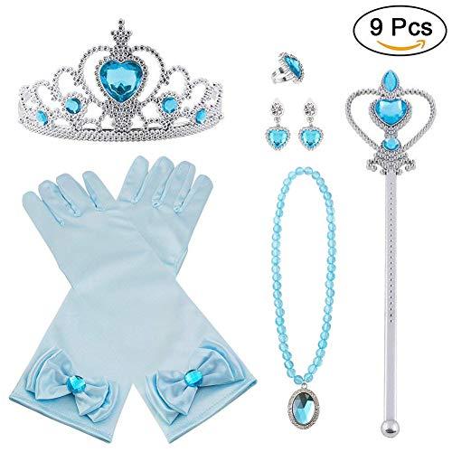 Vicloon Prinzessin Kostüme Eisprinzessin Set of 9, ELSA Handschuhe, Pfirsichherz Krone , Zauberstab, Halskette, Ring, - Kostüm Von Elsa