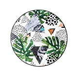 Grünes Pflanzenteppich mit Mosaik-Motiv, rund, für Wohnzimmer, Schlafzimmer, Hängesessel, Kissen für Kinder, grün, 150 * 150CM