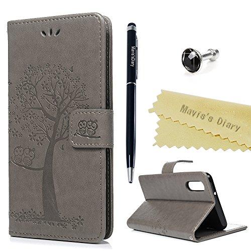 Huawei P20 Hülle Case Mavis's Diary Eule Baum Muster Leder Tasche Handyhülle Flip Cover Schutzhülle Lederhülle Skin Ständer Schale Handytasche Bumper Holster Magnetverschluss Klappbar Ledertasche-Grau